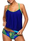 Annigo Tankini Swimsuits for Women Ladies Swimwear Vintage Bathing Suit,Blue,2XL(US 10-12)