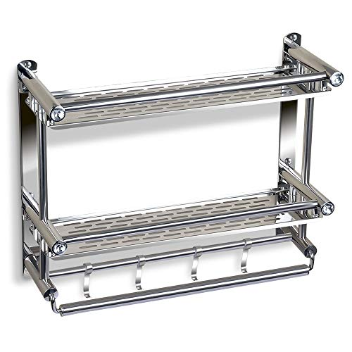 TIANG Bathroom Shelf with Towel Bar, No Drilling Stainless Steel Wall Mounted Shelf Organizer with 4 Hooks, 20 Inch Shower Space Saver Shelf Holder for Toilet, Hotel, Kitchen - 2 Tiers