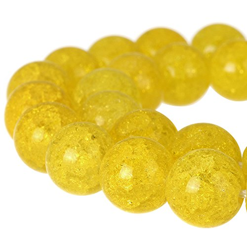 RUBYCA Round Crackle Druk Czech Crystal Pressed Glass Beads for Jewelry Making 10mm Strand (Yellow) - Yellow Lampwork Glass