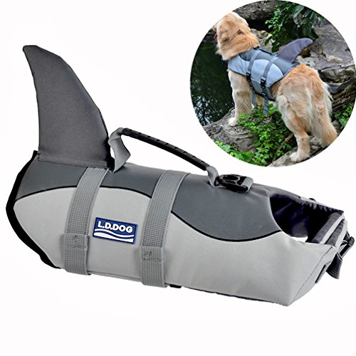 Cat Shark Fin Costume (Newest Dog Life Vest Summer Pet Dog Life Jacket Cute Mermaid Shark Dog Costume Quality Puppy Safety Clothes S/M/L (L, Grey))