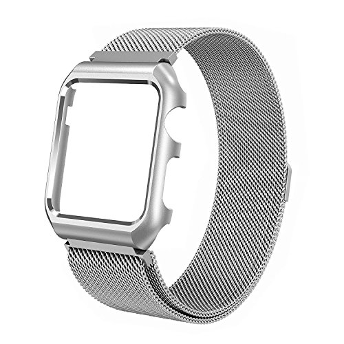 Leefrei 38mm Milanese Loop Band Stainless Steel Replacement Strap Metal Protective Case Compatible Apple Watch Series 3 2 1 - Silver