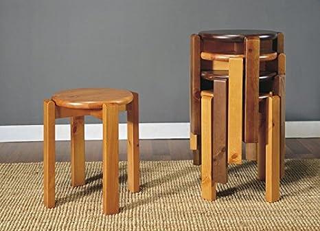 Arredamenti rustici 4 sgabelli in legno massello di pino grezzo