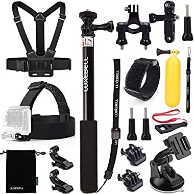 Luxebell 8-in-1 Accessories Kit for Gopro Hero 4 Session Black Silver Hero+ Lcd 3+ 3 2 Camera and Sjcam Sj4000 Sj5000 - Waterproof Pole / Chest Mount / Head Strap / Bobber / Suction Cup Mount