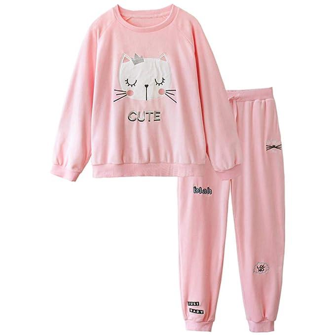 Mmllse Dulce Caricatura Gato Lindo Terciopelo Cálido Pijama Mujer Manga Larga Otoño E Invierno Servicio A Domicilio: Amazon.es: Ropa y accesorios