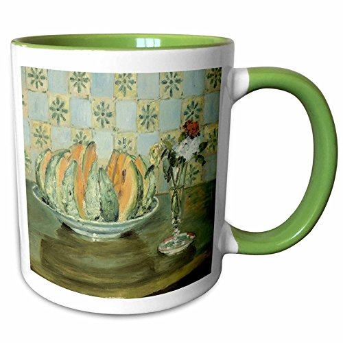 3dRose BLN Food and Dining Fine Art Collection - Nature morte au melon et au vase de fleurs by Pierre-Auguste Renoir, 1883-15oz Two-Tone Green Mug -