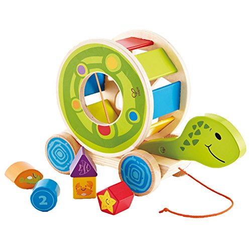 Hape Shape Sorter Turtle – Wooden Pull Along Toy – 5 Shape Blocks