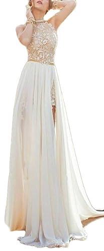 Allonly Wommen's Sexy Sleeveless Lace Chiffon Party Clubwear Evening Maix Dress