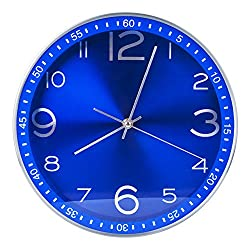 Egundo Silent 12 Inches Metal Wall Clocks Non-ticking Sweep Quartz Movement Analog Clock Battery Operated Large Modern Decorative for Kitchen Office Home and Store (Royal Blue)