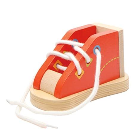 D DOLITY Zapatilla De Deporte De Cordones De Madera - Aprenda A Atar Un Zapato Juguete