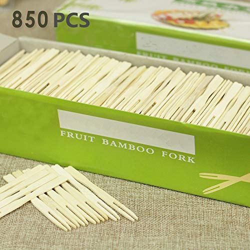 KINGZHUO 3.5 Inch 850 Pcs Disposable Wooden Fruit Forks Sticks Bamboo Forks Fruit Picks BBQ Sticks Dessert Forks Birthday Wedding Party Supply Banquet, Buffet, Catering 0.7 x 9 CM 3.5'' -