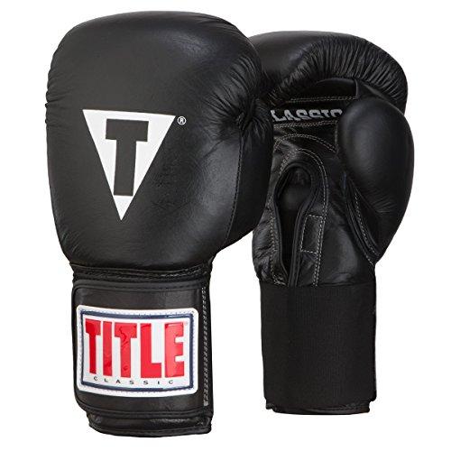 TITLE Classic Leather Elastic Training Gloves, Black, 16 oz