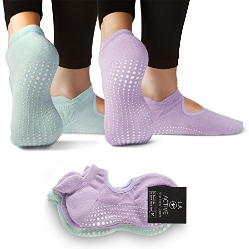 LA Active Grip Socks - 2 Pairs - Yoga Pilates Barre Ballet Non Slip (Royal Lilac and South Beach Teal)