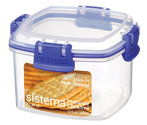 Sistema KLIP IT Utility Collection Cracker Storage Container, Small, 13.0 oz./0.4 L, Clear/Blue