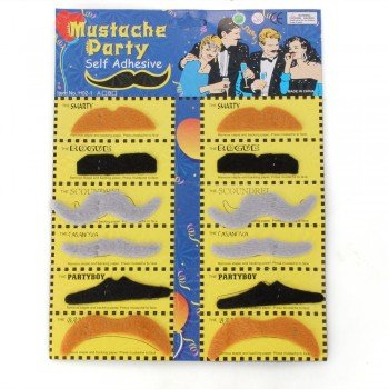 [12 x Fake Moustache Mustache Beard Halloween Cosplay Costume Party] (Costumes With Moustaches)