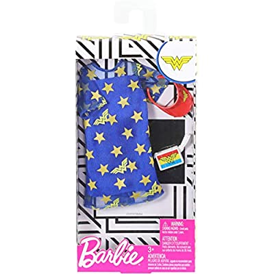 Barbie Clothes: Wonder Woman Outfit Doll, Blue Star Dress, Visor and Clutch, Gift for 3 to 8 Year Olds: Toys & Games
