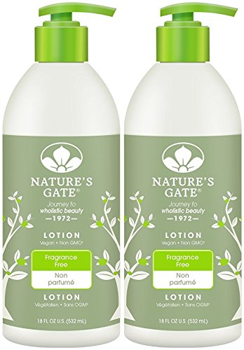 Fragrance Gate Natures - Nature's Gate Fragrance-Free Moisturizing Lotion for Sensitive Skin, 18-Ounce Pumps (Pack of 2)