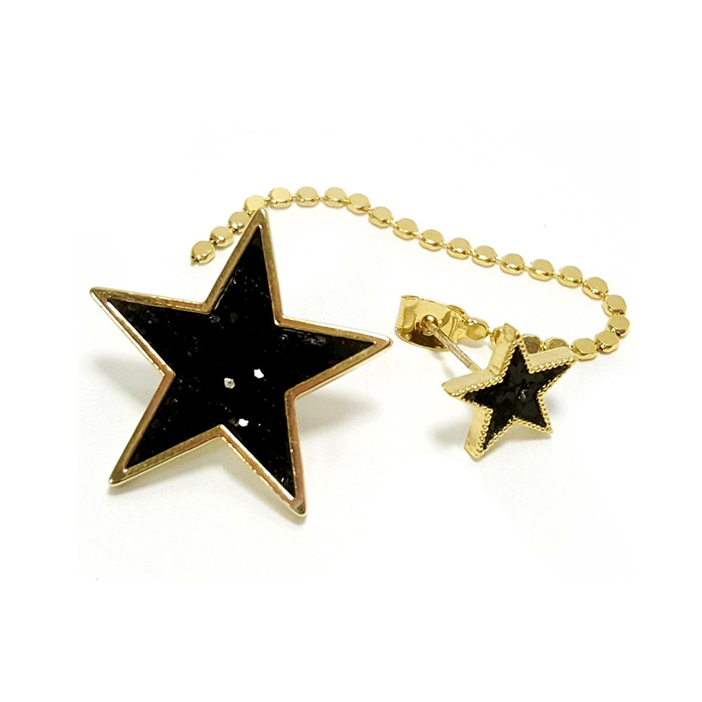 Artnouveau Elle Multi-Glitter Star asymmetric Drop Stud Earrings Back Chain Earring Jackets Fashion Jewelry (Black)