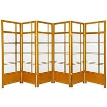 Oriental Furniture Fireplace Decor Short 4-Feet Low Kumo Folding Japanese Shoji Screen Room Divider, Honey