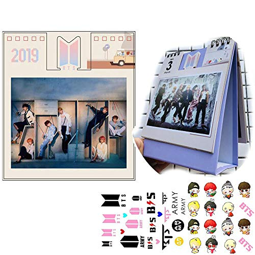 (BTS 2019 Desk Calendar Love Yourself 結 'Answer' Daily Weekly Monthly Yearly Organizer with 1 BTS 3D Stickers and 1 BTS Tattoo Stickers (BTS-2))