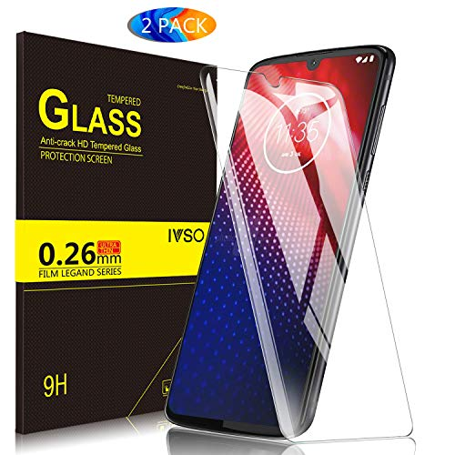 IVSO Screen Protector for Moto z4,[Bubble Free] Tempered Glass 9H Hardness HD Clear Bubble Free Installation Screen Protector for Moto z4 Smartphone (2 PCS)
