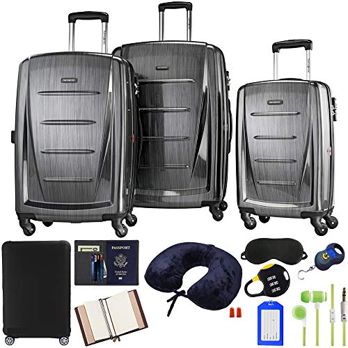 (Samsonite Winfield 2 Fashion 3-Piece Spinner Set - Charcoal with Accessory Kit)