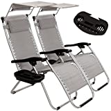 Idealchoiceproduct 2-Pack Zero Gravity Outdoor Lounge Chairs Patio Adjustable Folding Canopy Sunshade Reclining Chairs - Light Grey Color