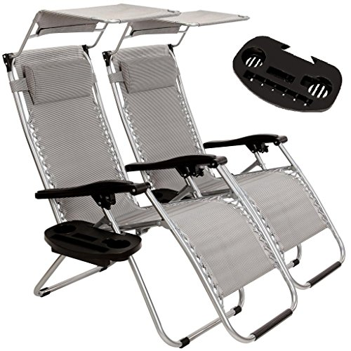 2-Pack Zero Gravity Outdoor Lounge Chairs Patio Adjustable Folding Canopy Sunshade Reclining Chairs - Light Grey Color (Gravity Recliner Outdoor Chair)