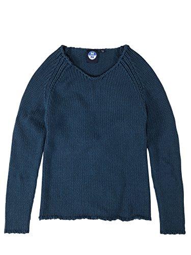 North Sails Chunky maglione oversize girocollo 1.5gg delle donne a regolare a righe Molto Ciano Scuro