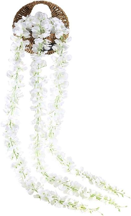 HUAESIN 3 Tallos Guirnalda de Flores Artificiales Wisteria 1.4m ...