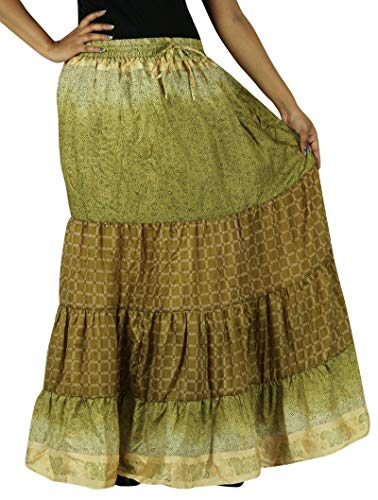 Olive Maxi Femmes En Pur Robe Long Soie Jupe Évasé Indianbeautifulart Pour Les Verte n80vmwNO
