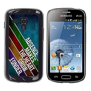 [Neutron-Star] Snap-on Series Teléfono Carcasa Funda Case Caso para Samsung Galaxy S Duos S7562 [Ausencia Amor Líneas Corazón Diseño Mensaje Moderno]