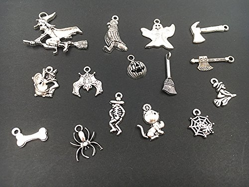 Halloween Pendant Charm (Alimitopia 15pcs Halloween Alloy Assorted Pendant Hallowmas Theme Charm for DIY jewelry making Accessories(Antique Silver Tone))