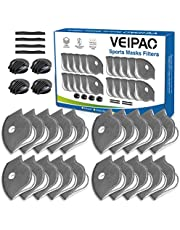 VEIPAO 20 Activated Carbon Filters Mask Filters, 4 Exhaust Valves and 4 Foam Nose Paddings