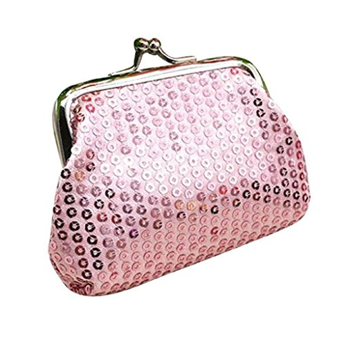 Bolsa de Mano Cartera de Lentejuelas, Holacha Mini Monodero Clutch para Mujeres Chicas Rosa