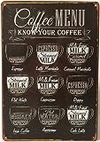 "Uniquelover Coffee Menu Express Cafe Latte Retro Vintage Tin Sign 12"" X 8"" Inches"