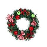 Inverlee 30CM/40CM Luxury Merry Christmas Wreath with Bowknot Berries and Cones Decorated Door Wall Charming Xmas Tree Hanging Decoration (40cm, As show)
