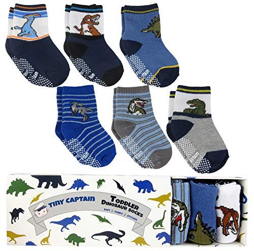 Tiny Captain Boy Toddler Socks Baby Boys Dinosaur Sock 1-3 Year Old Non Slip Grips 8-36 Months Gift 6 Pack (Blue)