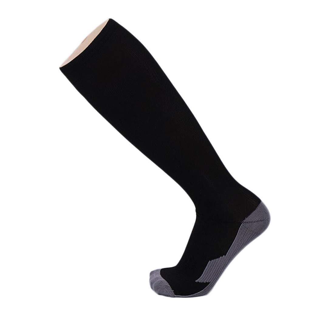 ZJEXJJ Chaussettes de Compression pour Hommes et Femmes Chaussettes de Sport en Nylon Chaussettes de Compression de Football Fines (Couleur : Noir, Taille : One Size)