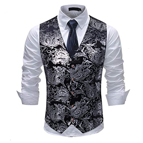 - Cloudstyle Mens Single Breasted Vest Dress Vest Slim Fit Button Down Prom Formal Suit Vest Waistcoat Silver