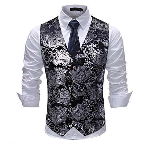 Cloudstyle Mens Single Breasted Vest Dress Vest Slim Fit Button Down Prom Formal Suit Vest Waistcoat Silver