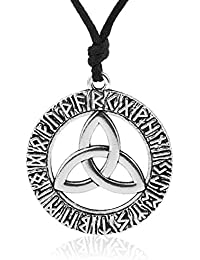 Norse Vikings Runes Amulet Pendant Necklace with Ireland Knot Talisman Jewelry