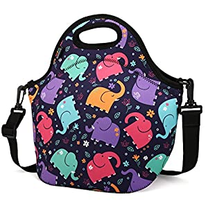 Insulated Lunch Bag, Nuovoware Neoprene Lunch Tote Reusable Picnic Bag Soft Thermal Cooler Tote Multi-purpose Grocery Container with Adjustable Crossbody Strap, Zip Closure, Cartoon Elephant