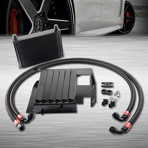 (25 Row Aluminum Engine Transmission Oil Cooler Kit Upgrade For BMW 3 SERIES 335I E90 E92 N54 Black)