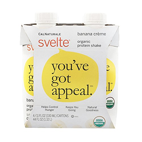 Svelte Organic Protein Shake, Banana Crème, 11 Ounce, 4 Count (Pack of 6) -