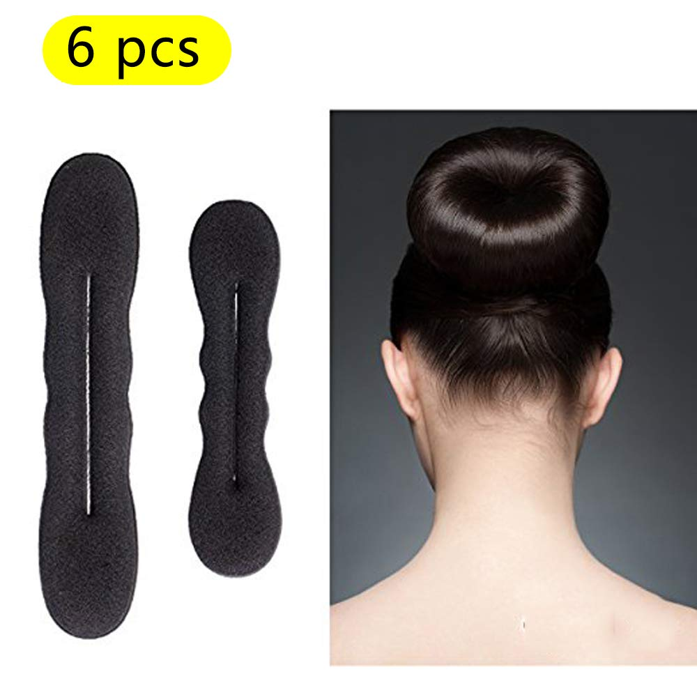 6 Piece Donuts Hair Bun Maker, Black 3 Large and 3 Small Magic Foam Sponge Bun Shaper Hair Accessories For Ponytail Bun Twister Tie Beauty Hair Hairstyle House Art