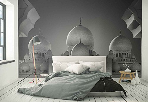 Photo wallpaper wall mural - Mosque Domes Crescent Cupolas - Theme Travel & Maps - XL - 12ft x 8ft 4in (WxH) - 4 Pieces - Printed on 130gsm Non-Woven Paper - 1X-1107671V8 by Fotowalls Photo Wallpaper Murals