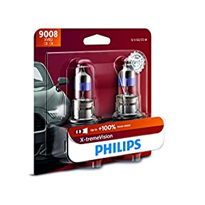Philips 9008 X-tremeVision Upgraded Headlight Bulb with up to 100% More Vision, 2 Pack