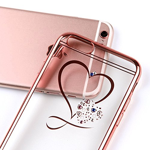 iPhone 6sPlus Funda Silicona, CLTPY iPhone 6Plus Cristal Diamante de la Serie Bling Brillo TPU Cubrir, Alta Resistencia y Flexibilidad Caja para el 5.5 Apple iPhone 6Plus/6sPlus (No iPhone 6/6s) + 1  Corazón de Oro de Rose