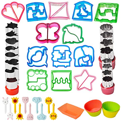 Sandwich Cutter Set 52pcs for Kids Bento Lunch Box, 13 Fun Sandwich Bread Crust Press, 12 Flowers and Animals Vegetable Fruit Cutters- Bonus 10 Food Picks & 10 Silicone Cup Dividers for Boys & Girls -
