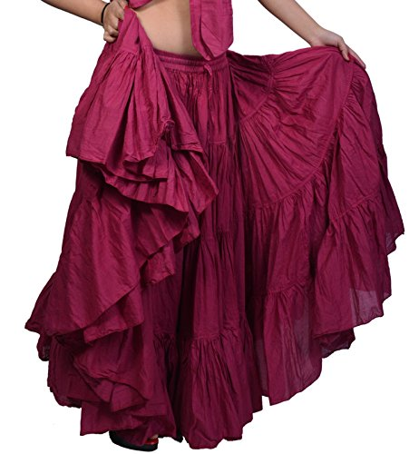 Wevez Women's Gypsy 25 Yard Solid Color Cotton Skirt (Burgundy) (Skirt Blazer)